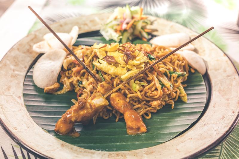 Seminyak, Bali | Warung Ocha Noodles chicken satay or Sate Ayam