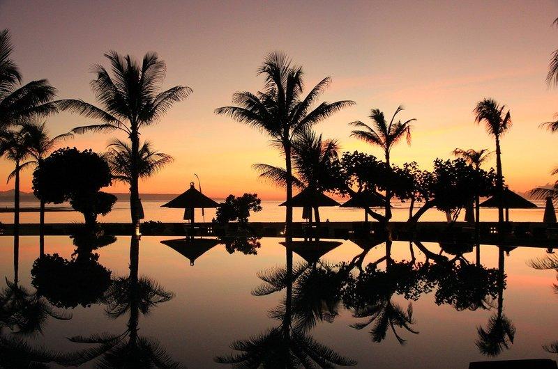 Palms Beach Pool Sunset Seminyak Bali
