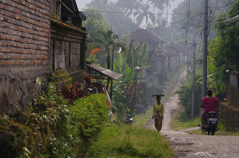 Woman Motorbike Road Bali